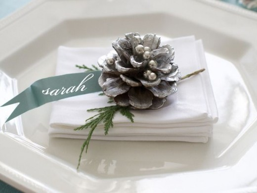 silver painted pinecone napkin ring
